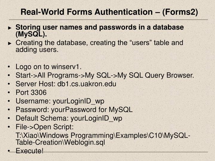 Real-World Forms Authentication – (Forms2)