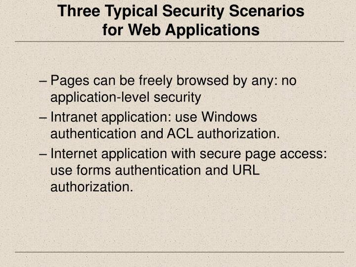 Three Typical Security Scenarios