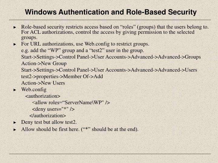 Windows Authentication and Role-Based Security