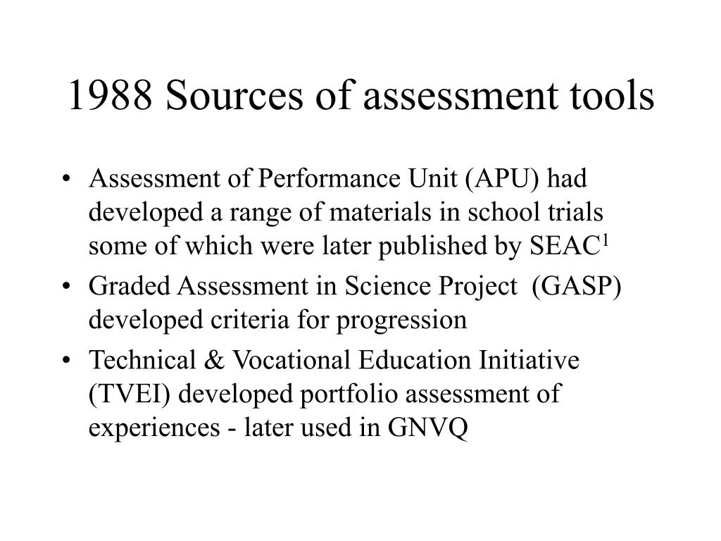 1988 Sources of assessment tools