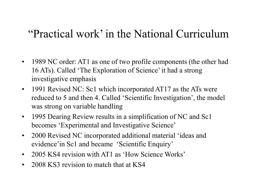 """Practical work' in the National Curriculum"