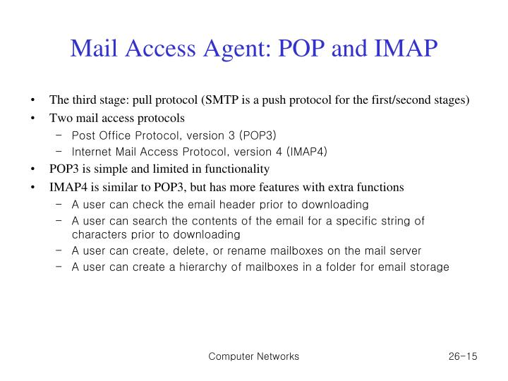 Mail Access Agent: POP and IMAP