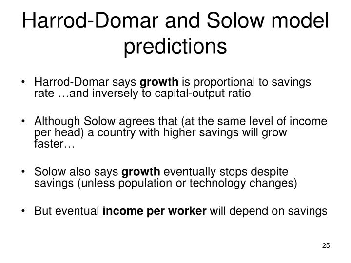 Harrod-Domar and Solow model predictions