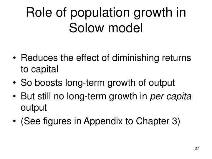 Role of population growth in Solow model