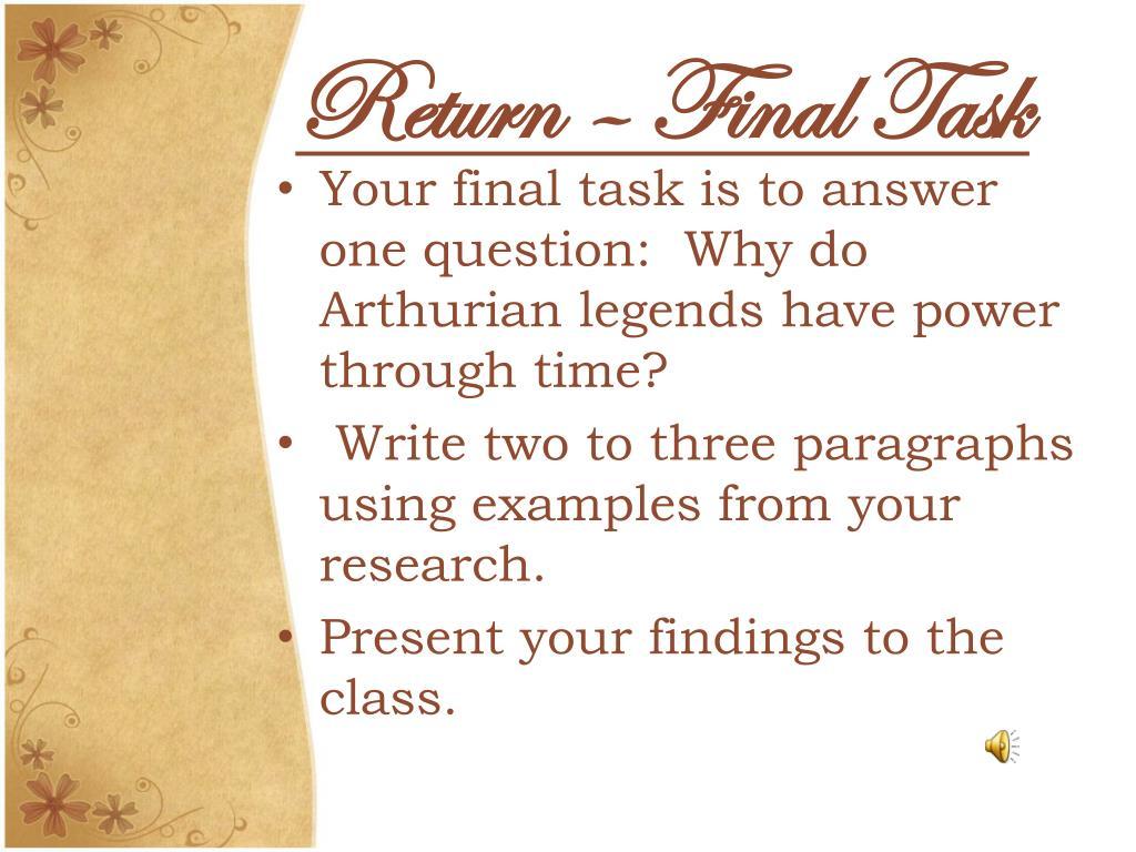 Return – Final Task