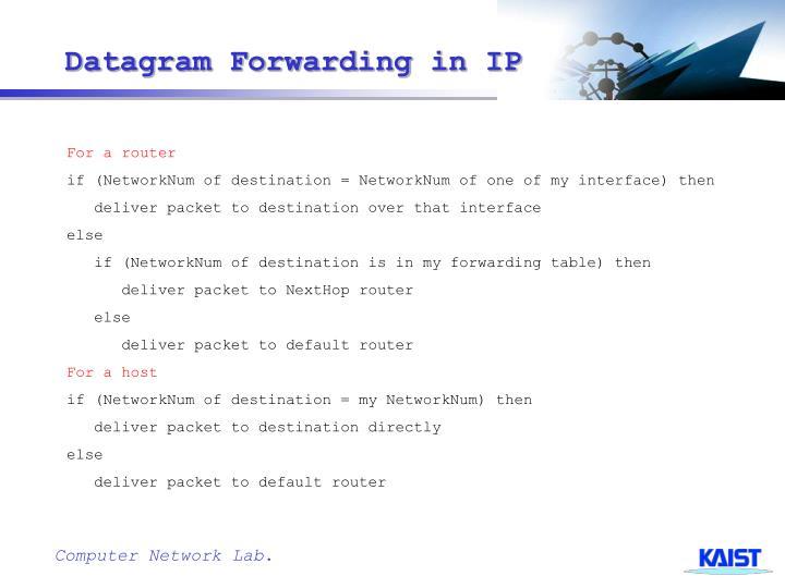 Datagram Forwarding in IP