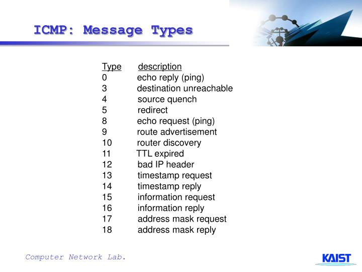 ICMP: Message Types