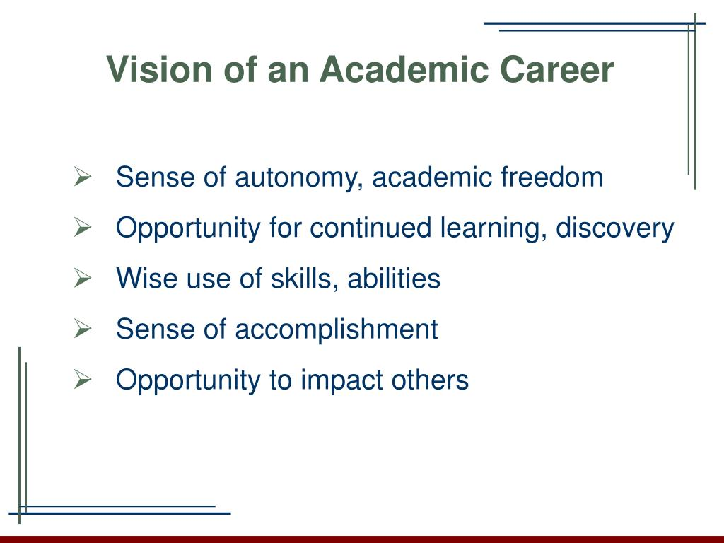 Vision of an Academic Career