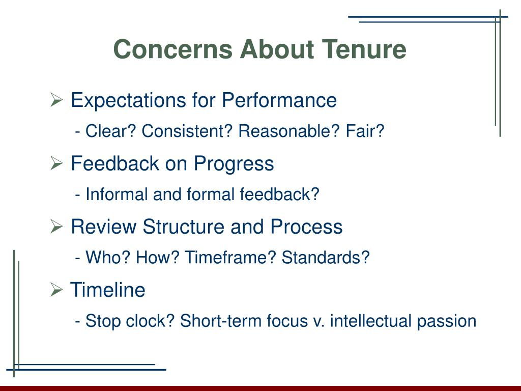 Concerns About Tenure