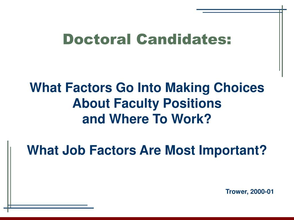 Doctoral Candidates:
