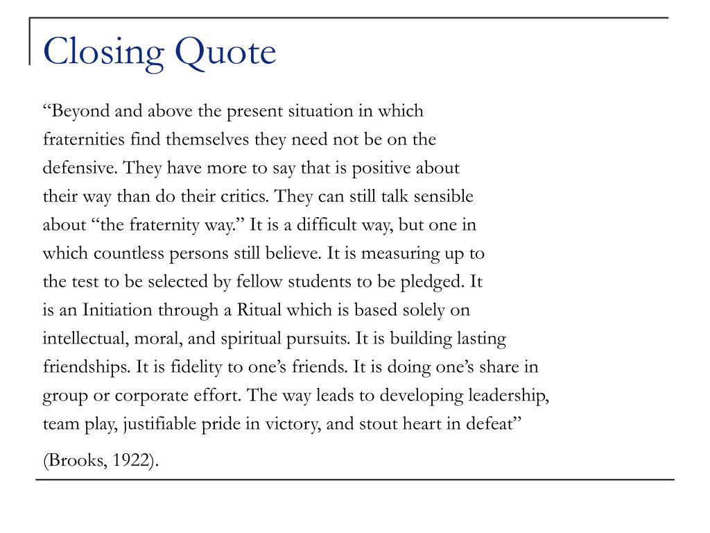 Closing Quote