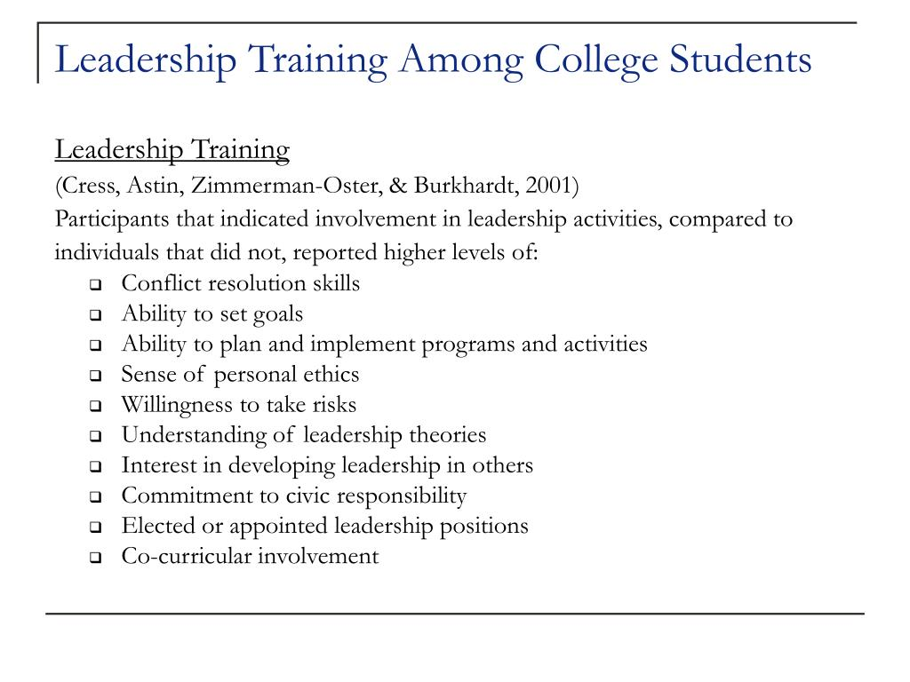 Leadership Training Among College Students