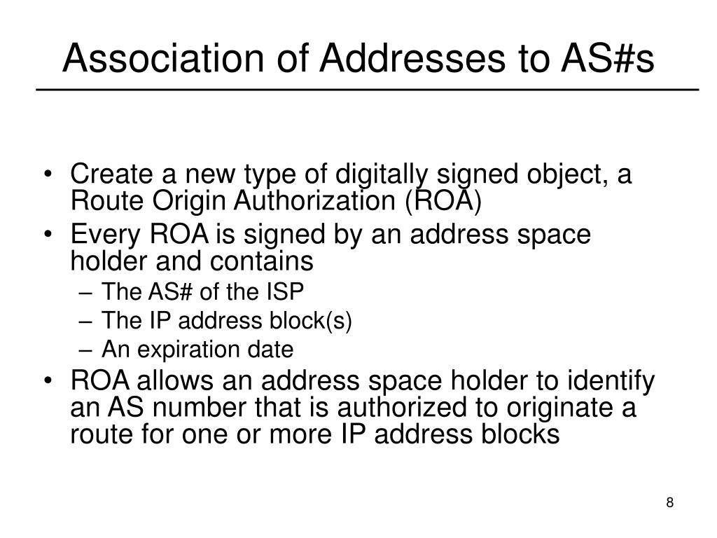Association of Addresses to AS#s