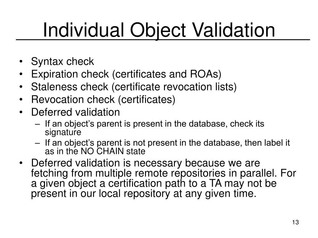 Individual Object Validation