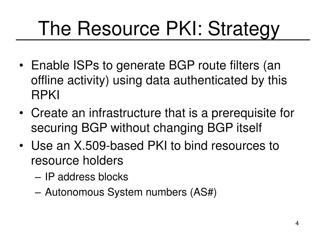 The Resource PKI: Strategy