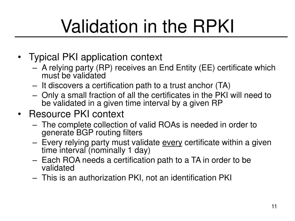 Validation in the RPKI