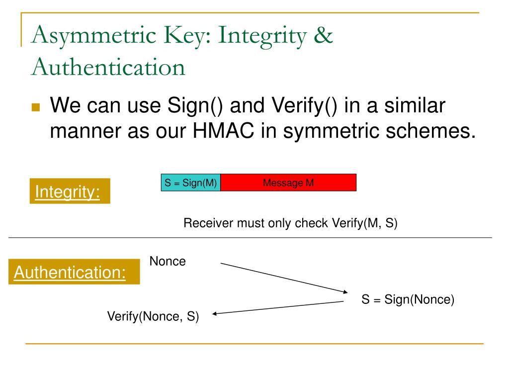 Asymmetric Key: Integrity & Authentication