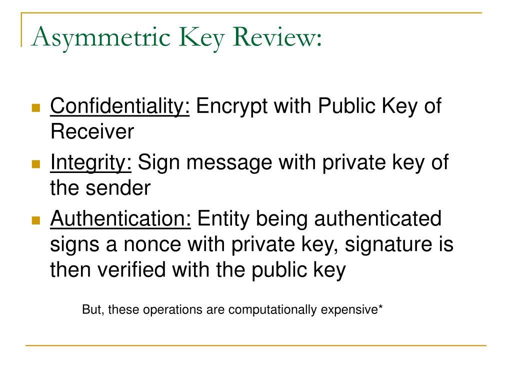 Asymmetric Key Review: