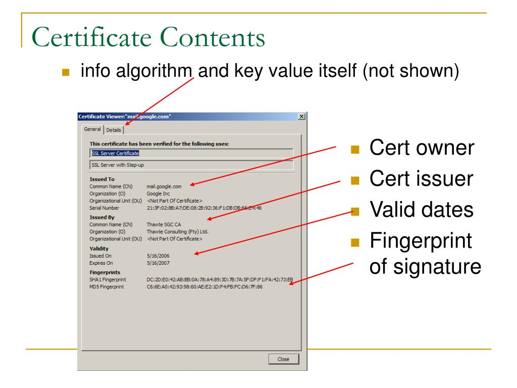 Certificate Contents