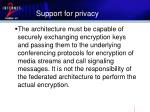 support for privacy