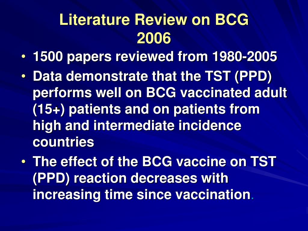 Literature Review on BCG