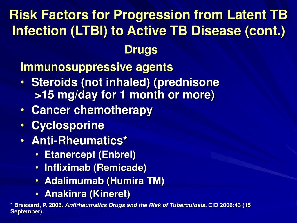Risk Factors for Progression from Latent TB Infection (LTBI) to Active TB Disease (cont.)