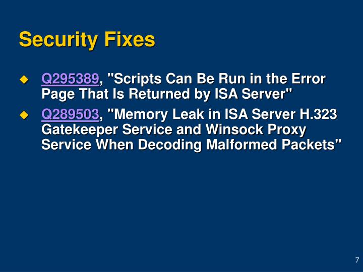Security Fixes