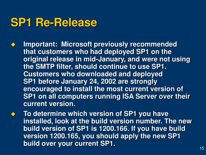 SP1 Re-Release