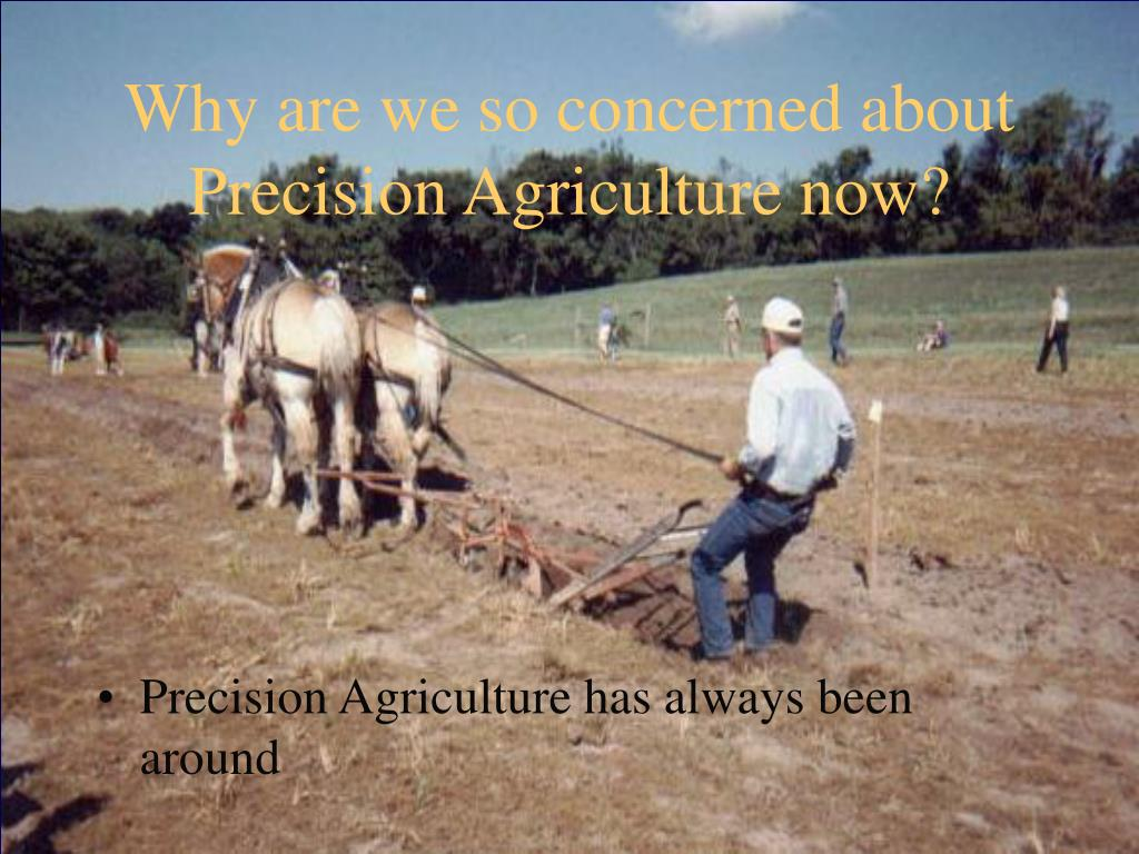 Why are we so concerned about Precision Agriculture now?
