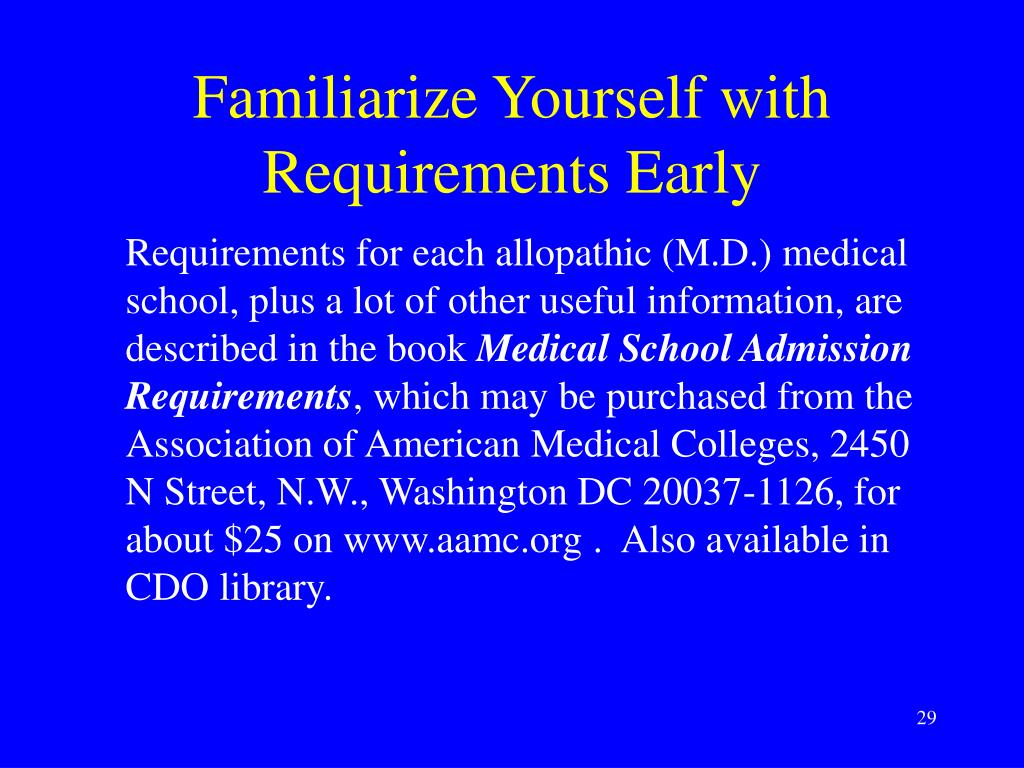 Familiarize Yourself with Requirements Early
