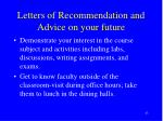 letters of recommendation and advice on your future43