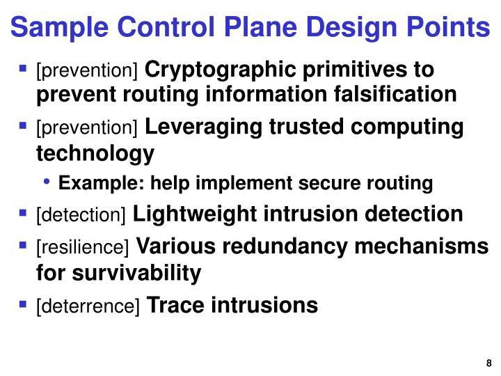 Sample Control Plane Design Points