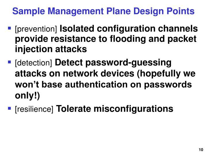 Sample Management Plane Design Points