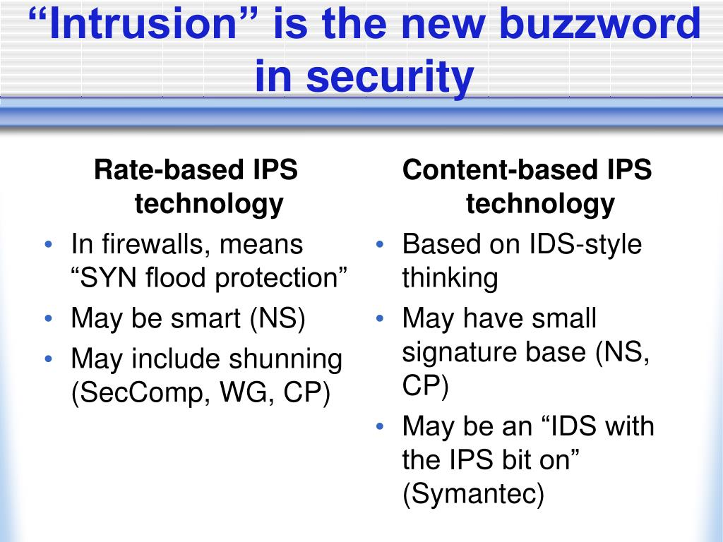 Rate-based IPS technology
