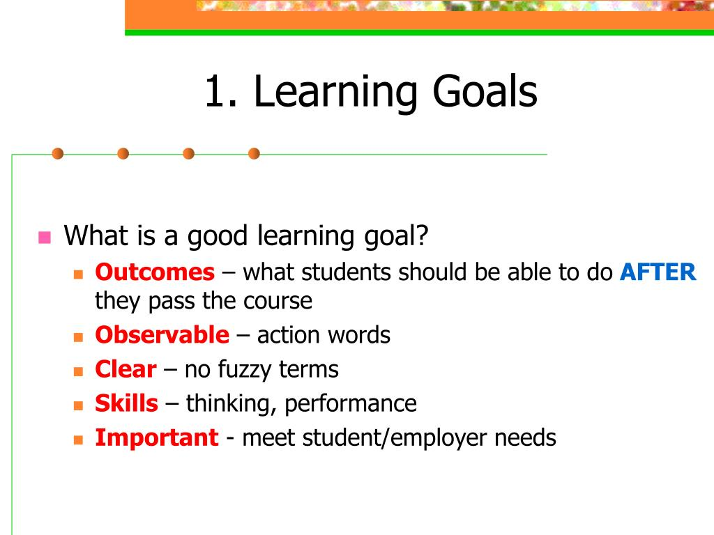 1. Learning Goals