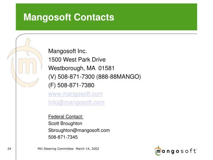 Mangosoft Contacts