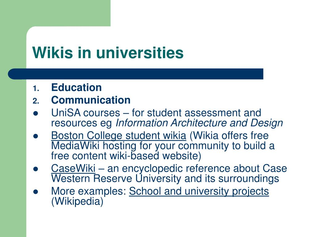 Wikis in universities