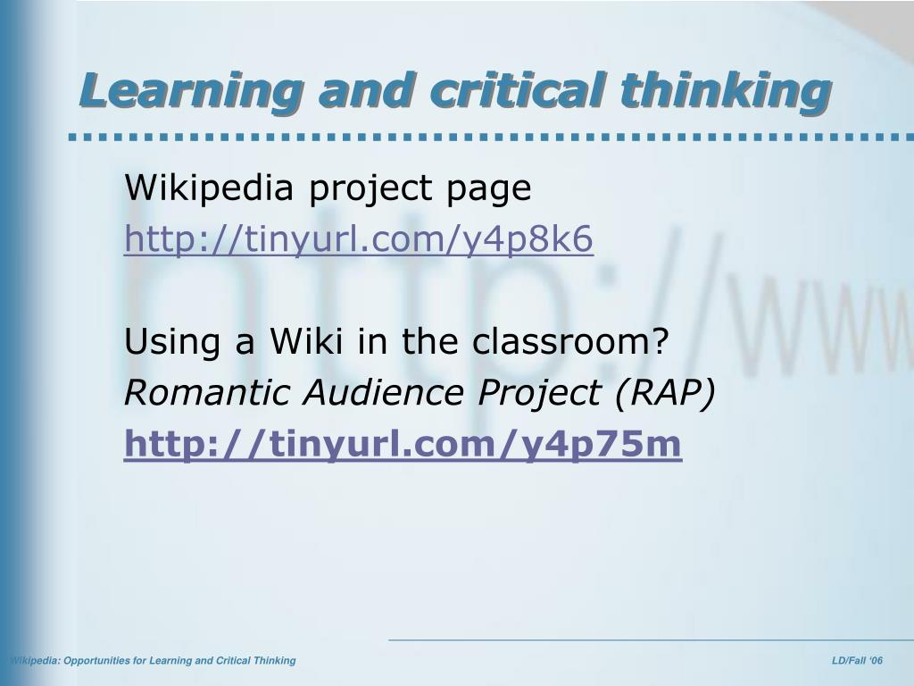 Learning and critical thinking
