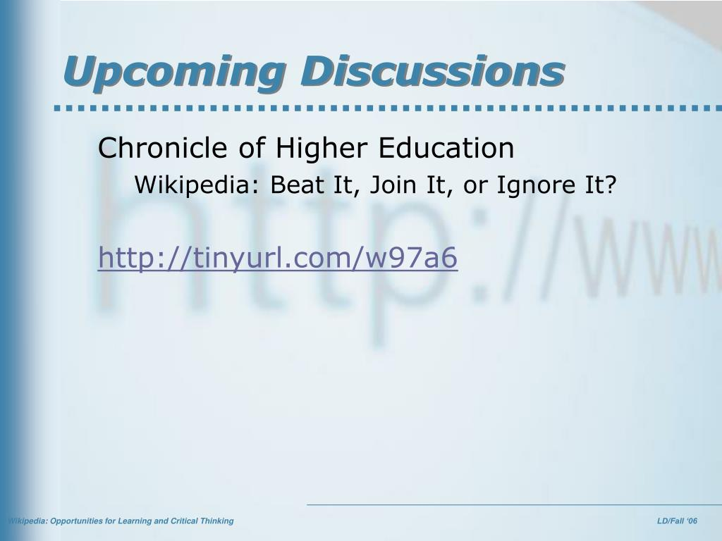 Upcoming Discussions