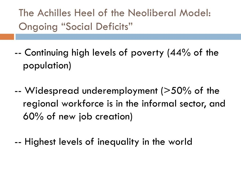 "The Achilles Heel of the Neoliberal Model:  Ongoing ""Social Deficits"""