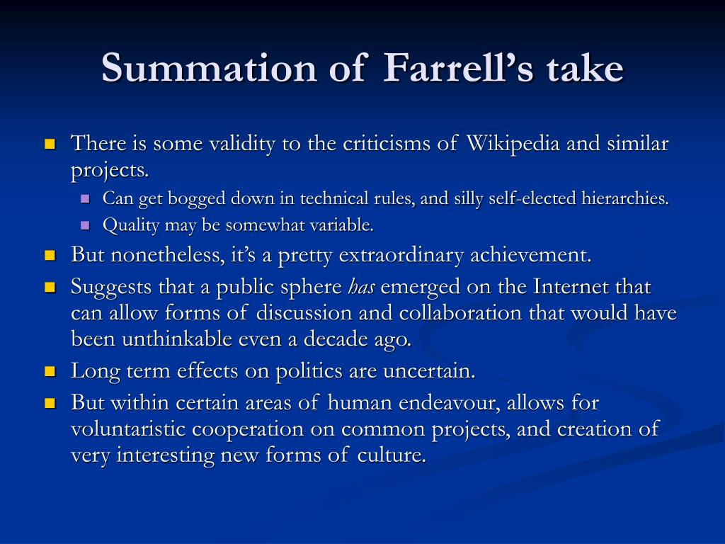 Summation of Farrell's take