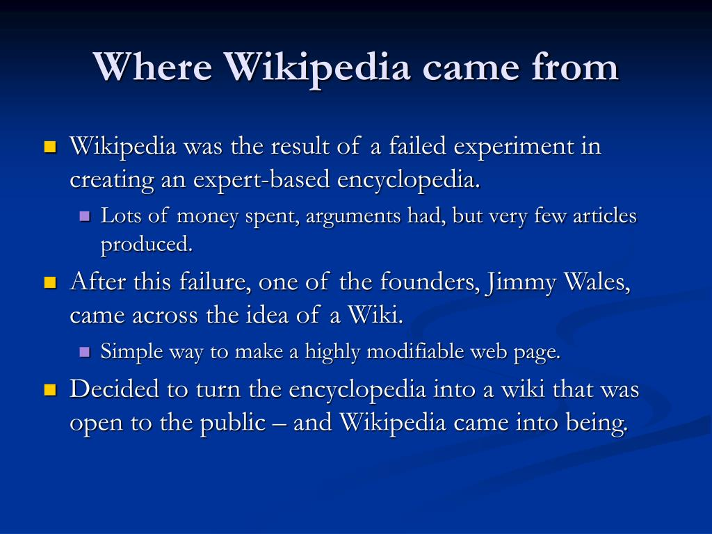Where Wikipedia came from