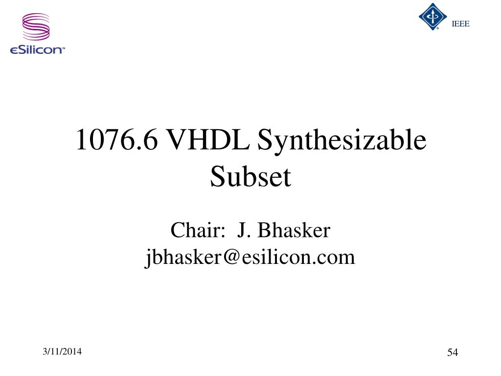 1076.6 VHDL Synthesizable Subset