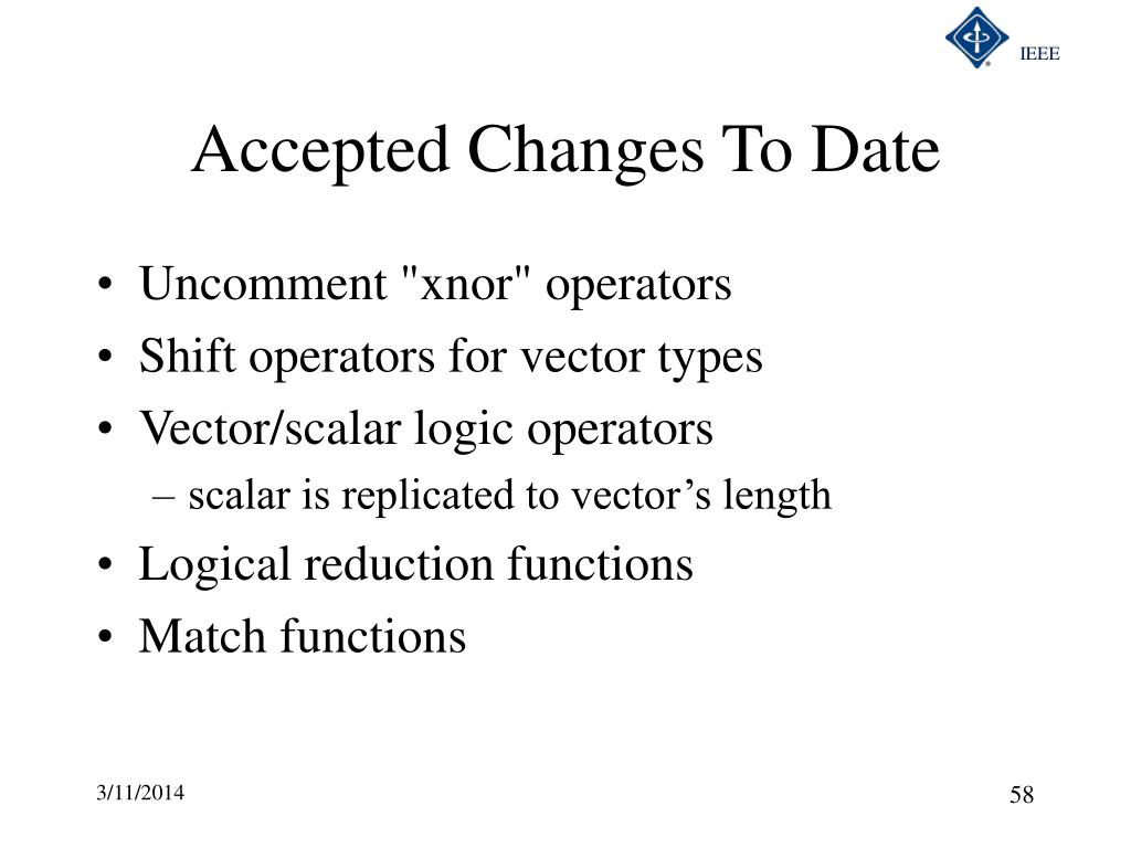 Accepted Changes To Date
