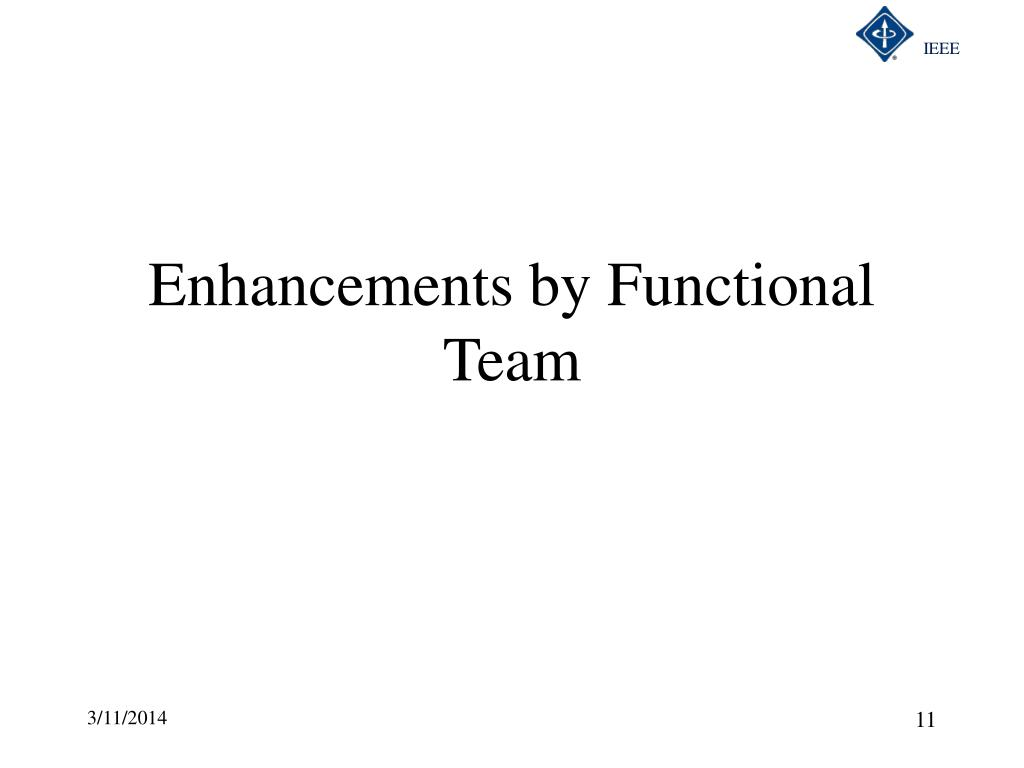 Enhancements by Functional Team