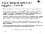 ieee sa standards board bylaws on patents in standards