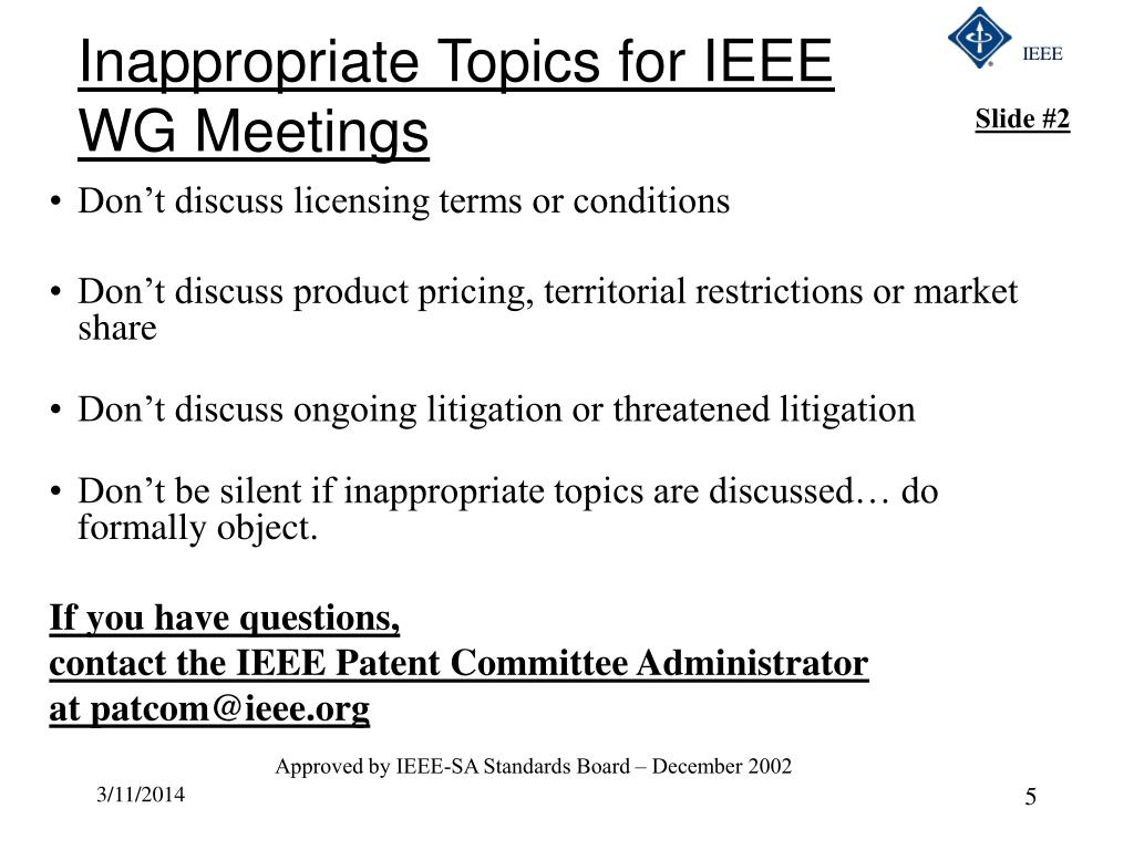 Inappropriate Topics for IEEE