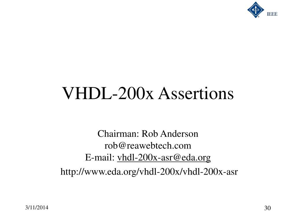 VHDL-200x Assertions