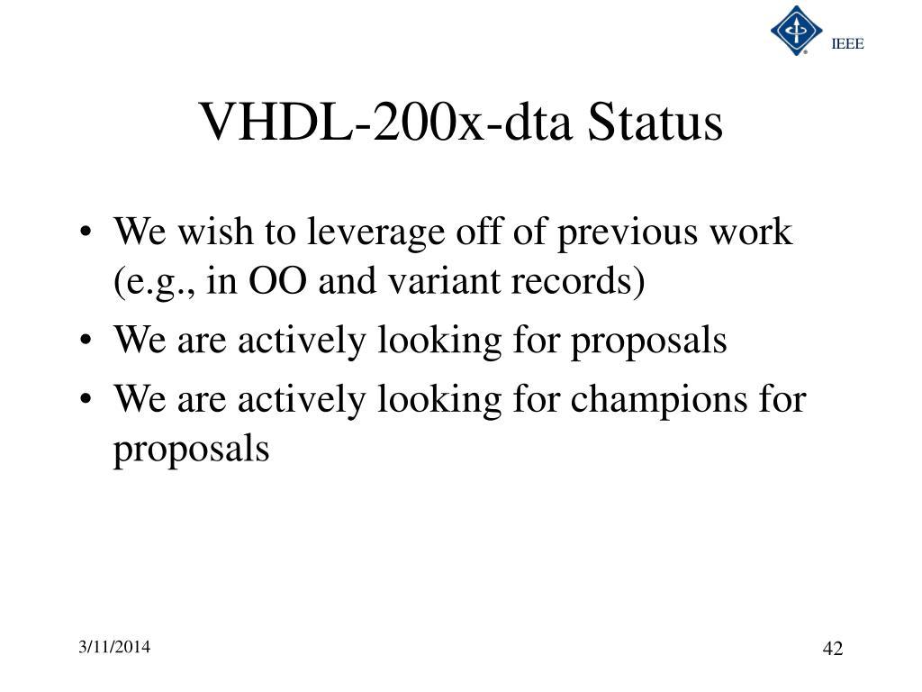 VHDL-200x-dta Status