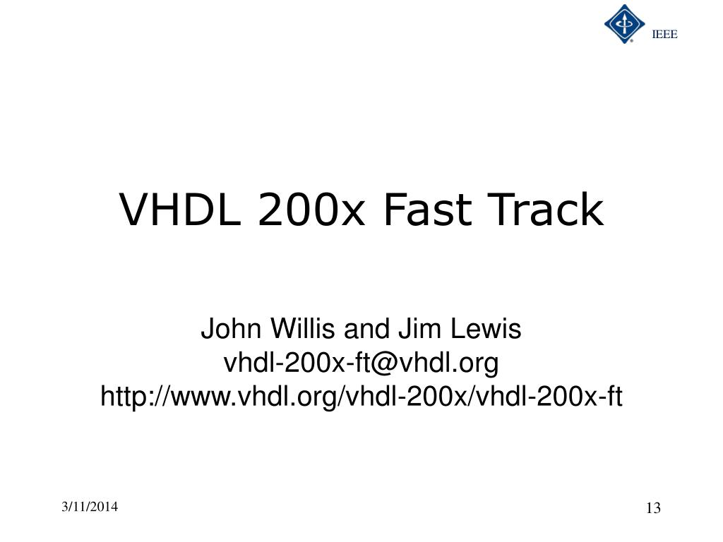 VHDL 200x Fast Track